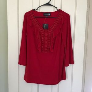 NWT Antthony Red Ruffle Long Sleeve Top
